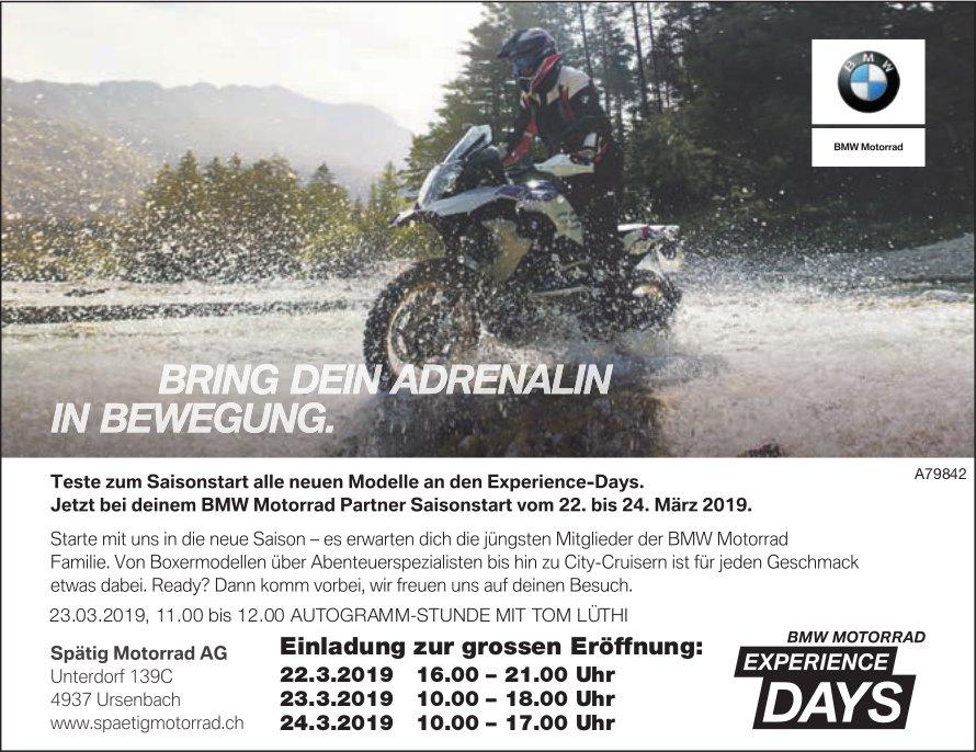 Spätig Motorrad - Teste zum Saisonstart alle neuen Modelle an den Experience-Days, 22. bis 24. März