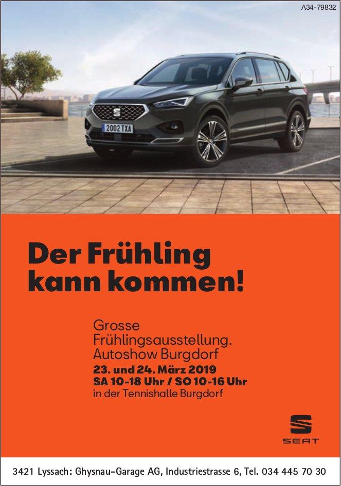 Ghysnau-Garage AG - Grosse Frühlingsausstellung, 23. und 14. März in Autoshow Burgdorf