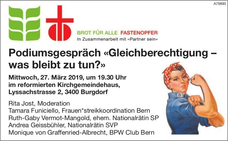 Brot für alle - Podiumsgespräch «Gleichberechtigung, was bleibt zu tun?» am 27. März