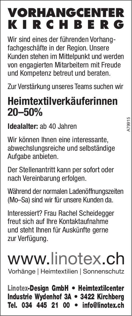 Heimtextilverkäuferinnen 20–50% bei Linotex-Design GmbH gesucht