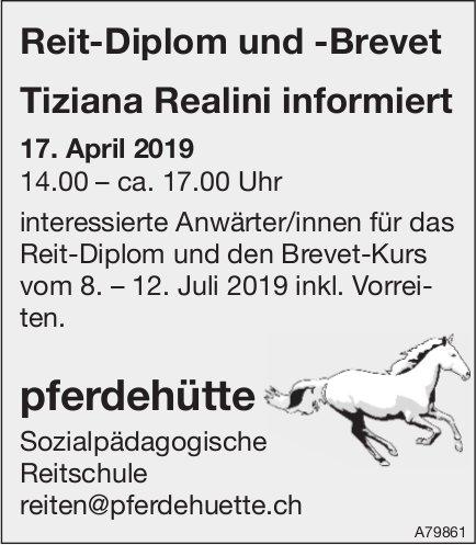 Pferdehütte Sozialpädagogische Reitschule - Reit-Diplom & -Brevet: Tiziana Realini informiert, 17.4.