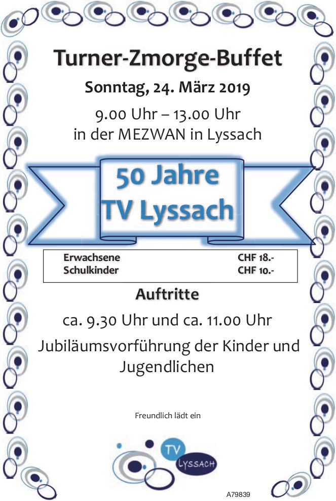 50 Jahre TV Lyssach - Turner-Zmorge-Buffet am 24. März