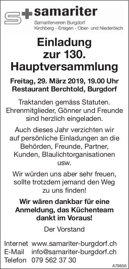 Samariter Burgdorf - Einladung zur 130. Hauptversammlung am 29. März