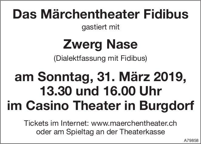 Das Märchentheater Fidibus gastiert mit Zwerg Nase am 31. März im Casino Theater in Burgdorf