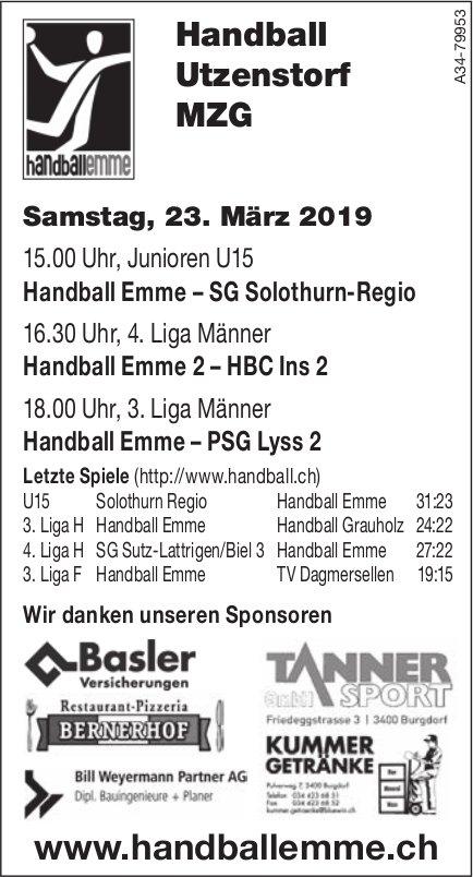 Handball Emme, Handball Utzenstorf MZG, Programm vom 23. März