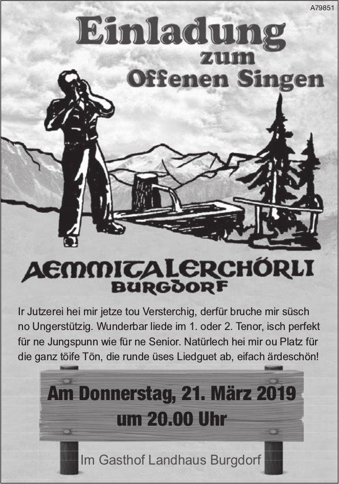 AEMMICALERCHÖRLI BRUGDORF - Einladung zum Offenen Singen am 21. März
