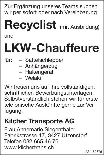 Recyclist (mit Ausbildung) und LKW-Chauffeure bei Kilcher Transporte AG gesucht