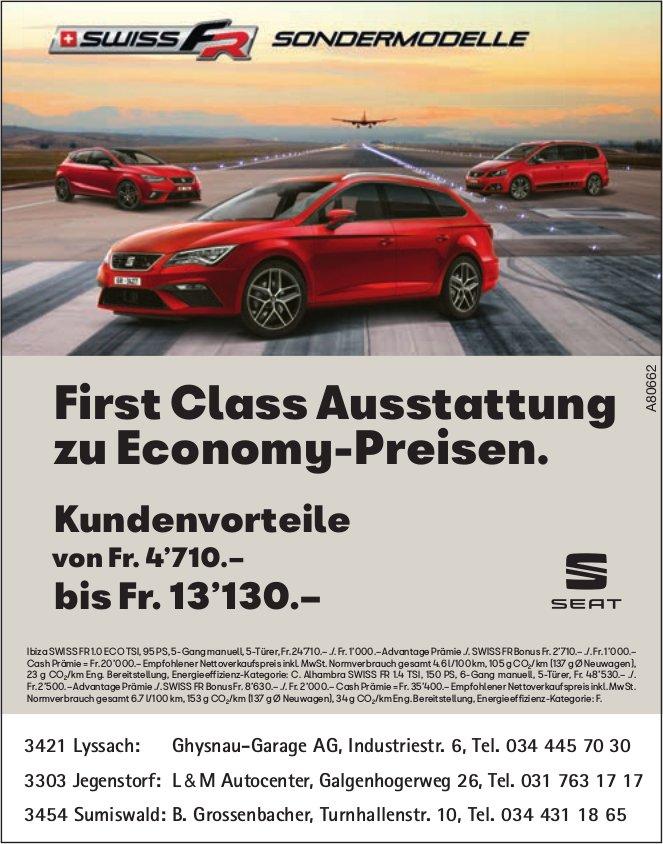 SEAT Swiss FR Sondermodelle - FirstClass Ausstattung zu Economy-Preisen.