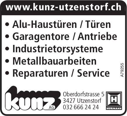 Kunz AG - Alu-Haustüren/Türen, Garagentore/Antriebe usw.