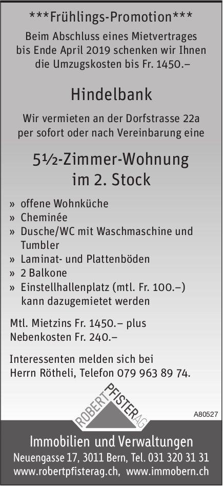 5½-Zimmer-Wohnung im 2. Stock in Hindelbank zu vermieten