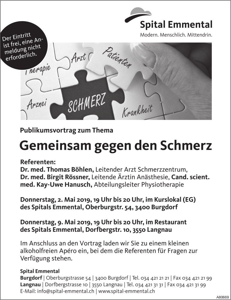 Spita Emmental - Publikumsvortrag zum Thema Gemeinsam gegen den Schmerz am 2. + 9. Mai