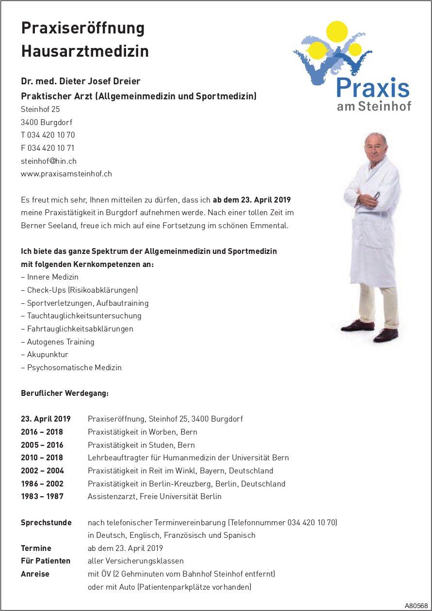 Praxis am Steinhof - Praxiseröffnung Hausarztmedizin Dr. med. Dieter Josef Dreier