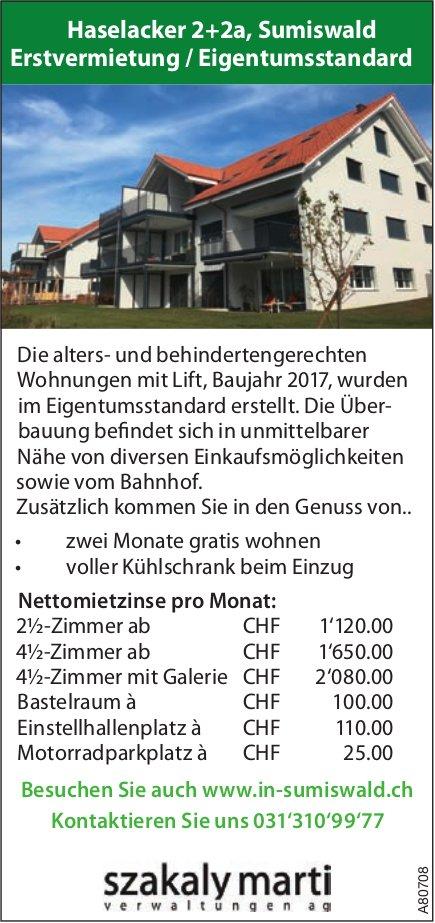 Erstvermietung / Eigentumsstandard 2.5- bis 4.5-Zi.-Wohnungen in Sumiswald