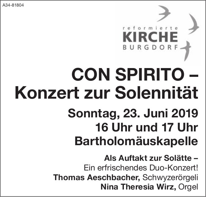 Ref. Kirche Burgdorf - CON SPIRITO – Konzert zur Solennität am 23. Juni