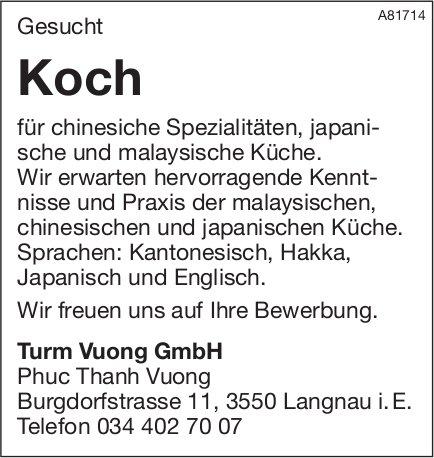 Koch für chinesiche Spezialitäten, japanische und malaysische Küche gesucht