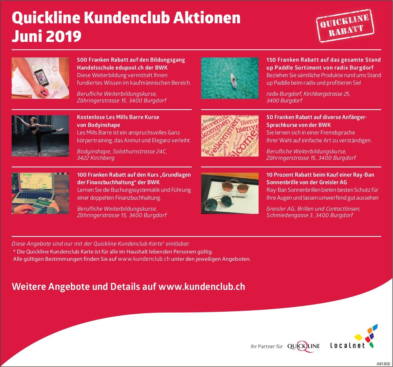 Quickline Kundenclub - Aktionen Juni 2019