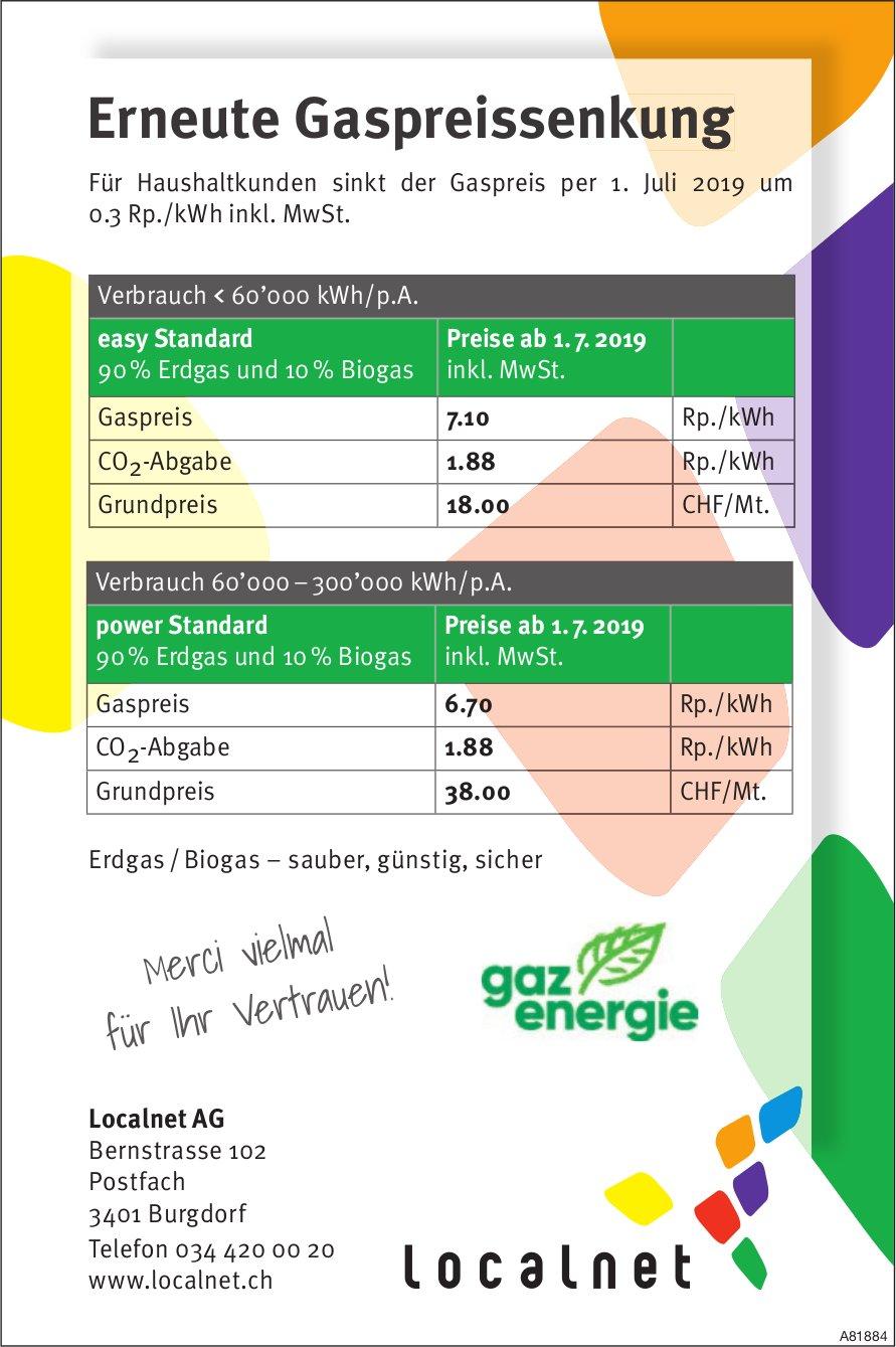 Localnet AG - Erneute Gaspreissenkung