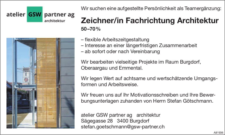 Zeichner/in Fachrichtung Architektur 50–70% bei Atelier GSW Partner AG Architektur gesucht