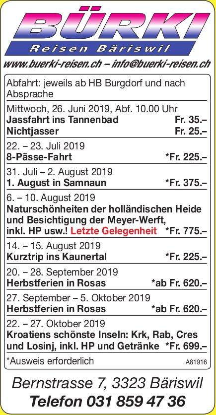 Bürki Reisen Bäriswil - Programm & Events