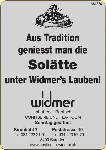Widmer Confiserie und Tea-Room - Aus Tradition geniesst man die Solätte unter Widmer's Lauben!
