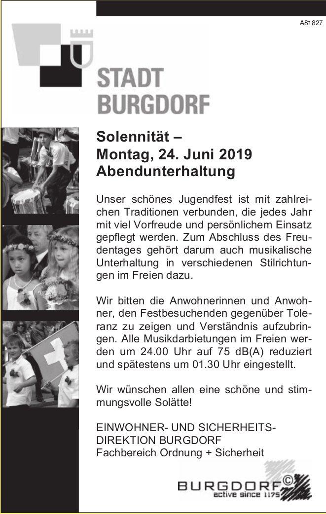 STADT BURGDORF - Solennität, Montag, 24. Juni 2019, Abendunterhaltung