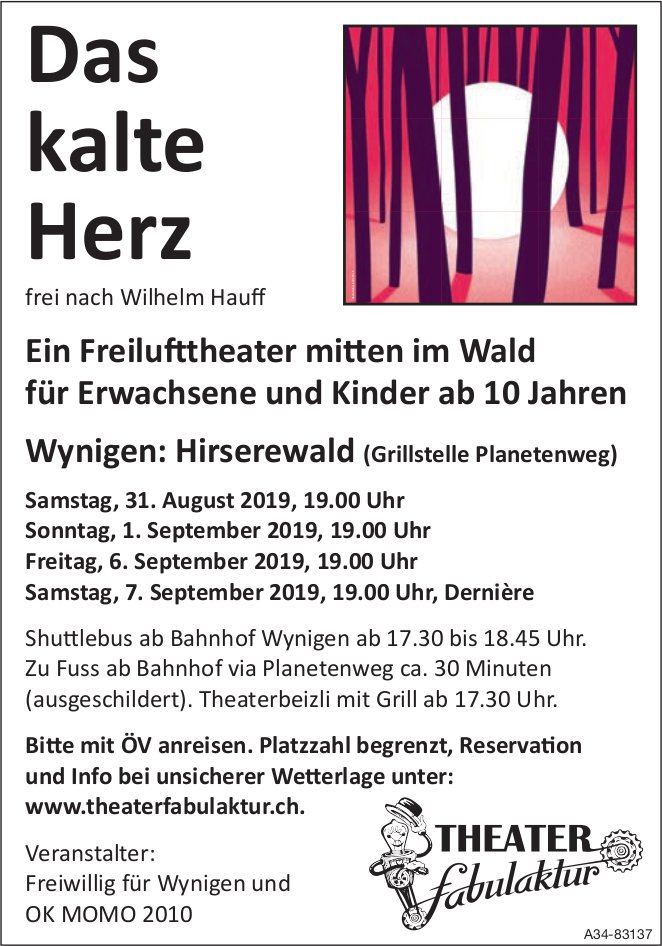 "Theater Fabulaklur - ""Das kalte Herz"", Freilufttheater in Wynigen, 31. Aug./1., 6., 7. Sept."