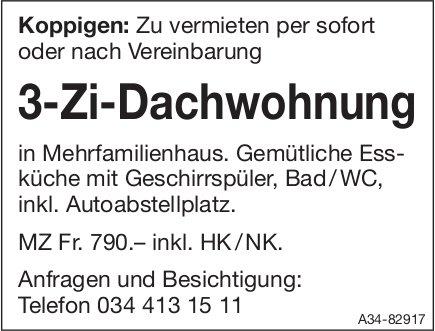 3-Zi-Dachwohnung in Koppigen zu vermieten