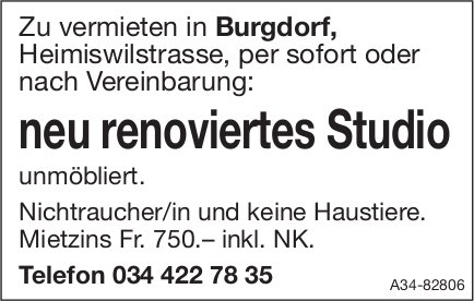 Neu renoviertes Studio unmöblıert in Burgdorf zu vermieten