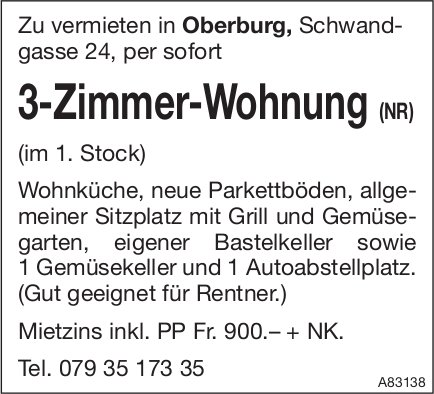 3-Zimmer-Wohnung (NR) in Oberburg zu vermieten