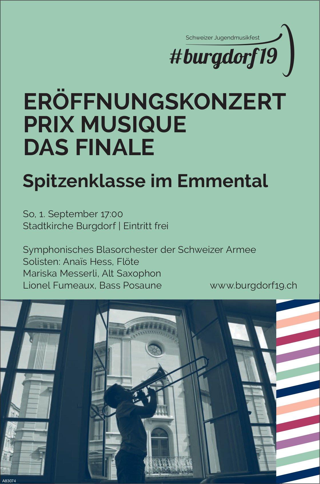 Burgdorf19 - ERÖFFNUNGSKONZERT PRIX MUSIQUE DAS FINALE AM 1. SEPTEMBER