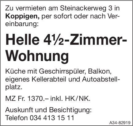 Helle 4½-Zimmer-Wohnung in Koppigen zu vermieten