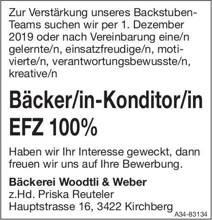 Bäcker/in-Konditor/in EFZ 100% bei Bäckerei Woodtli & Weber gesucht
