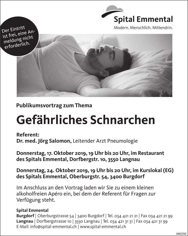 Spital Emmental - Publikumsvortrag zum Thema Gefährliches Schnarchen am 17. + 24. Oktober