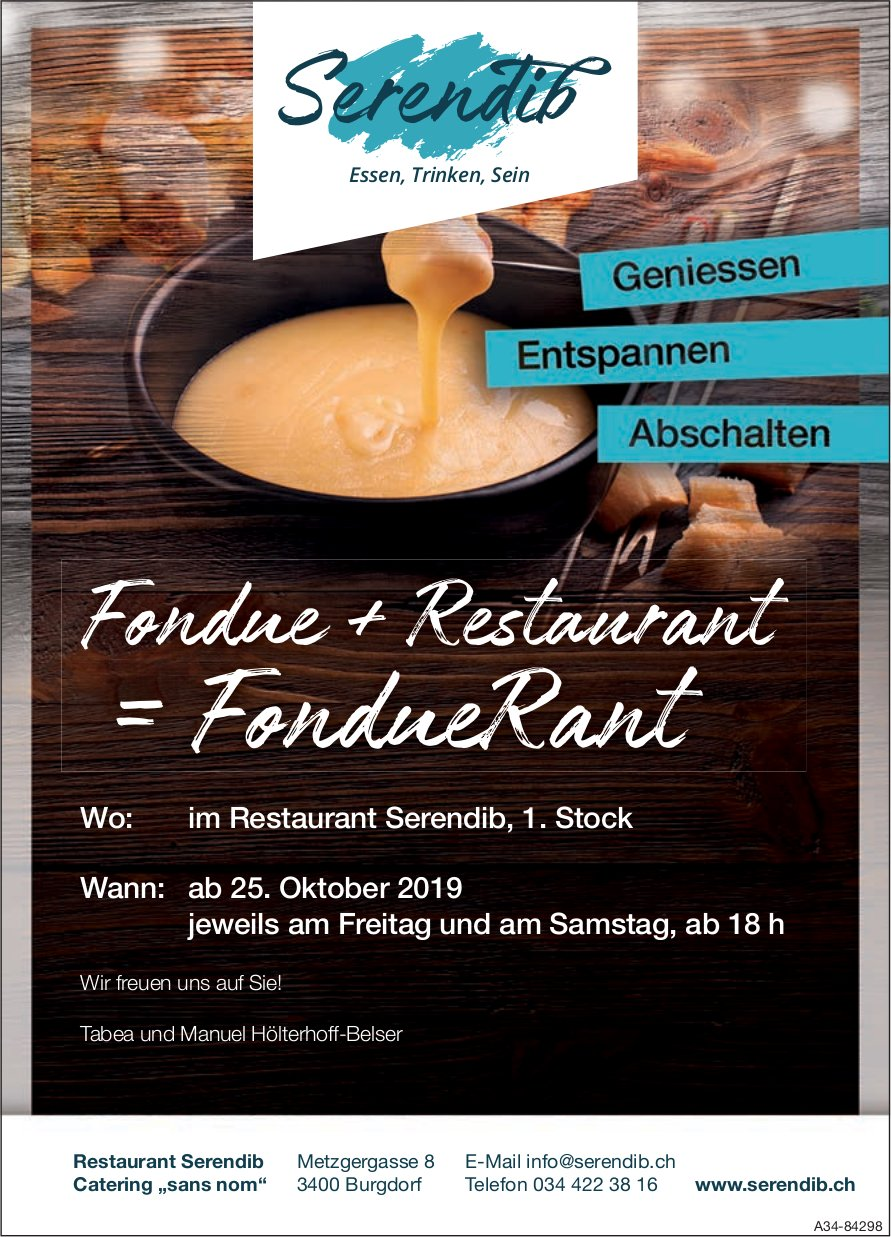 Restaurant Serendib - Fondue + Restaurant = FondueRant ab 25. Oktober