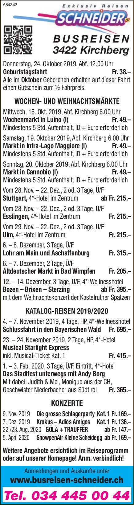 Busreisen Schneider - Programm & Events