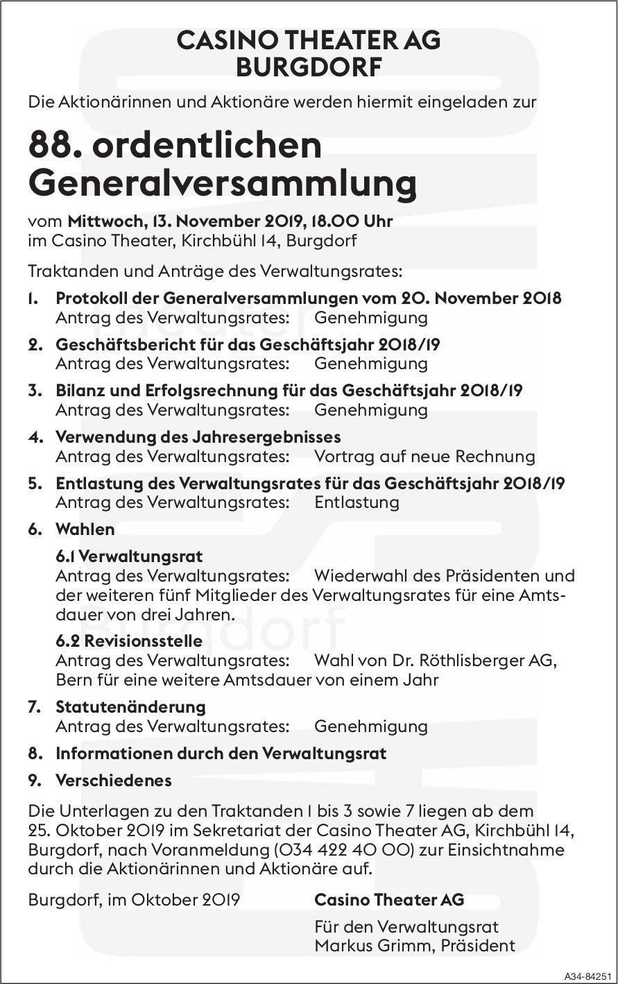 CASINO THEATER AG BURGDORF - 88. ordentlichen Generalversammlung am 13. November
