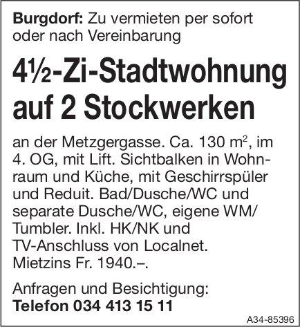4½-Zi-Stadtwohnung auf 2 Stockwerken in Burgdorf zu vermieten