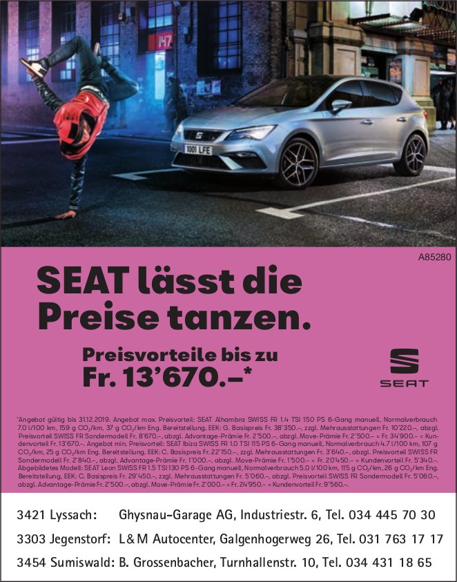 SEAT lässt die Preise tanzen. - Preisvorteile bis zu Fr.13'670.–*