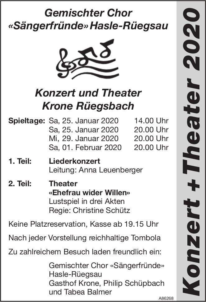 Gemischter Chor «Sängerfründe» Hasle-Rüegsau - Konzert und Theater Krone Rüegsbach