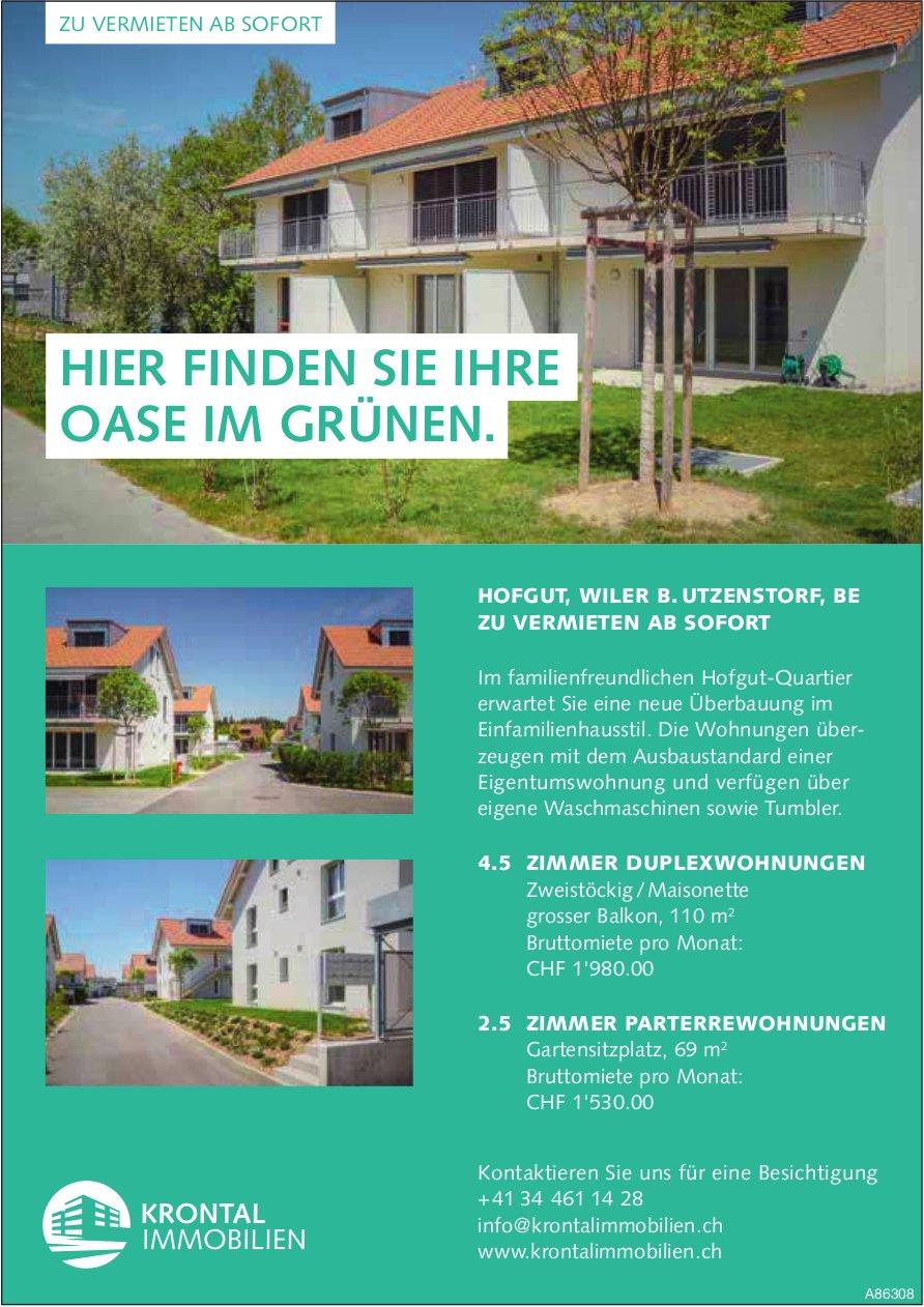 2.5- und 4.5- Zimmer-Wohnung in Wiler b. Utzenstorf zu vermieten