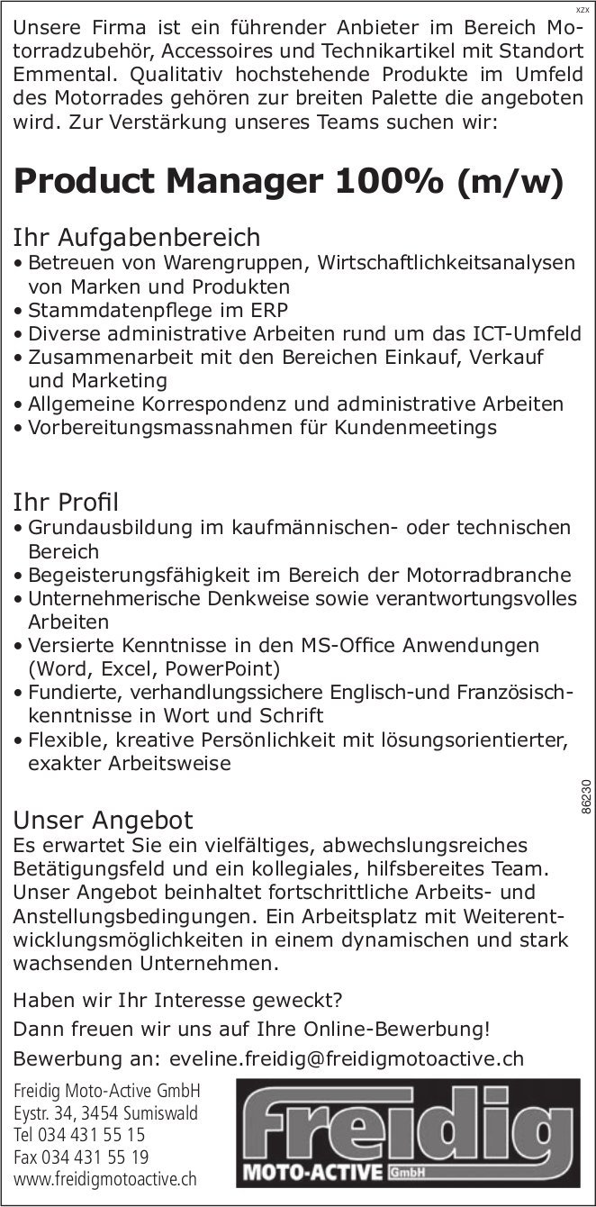 Product Manager 100% (m/w) bei Freidig Moto-Active GmbH gesucht