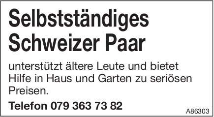 Selbstständiges Schweizer Paar unterstützt ältere Leute