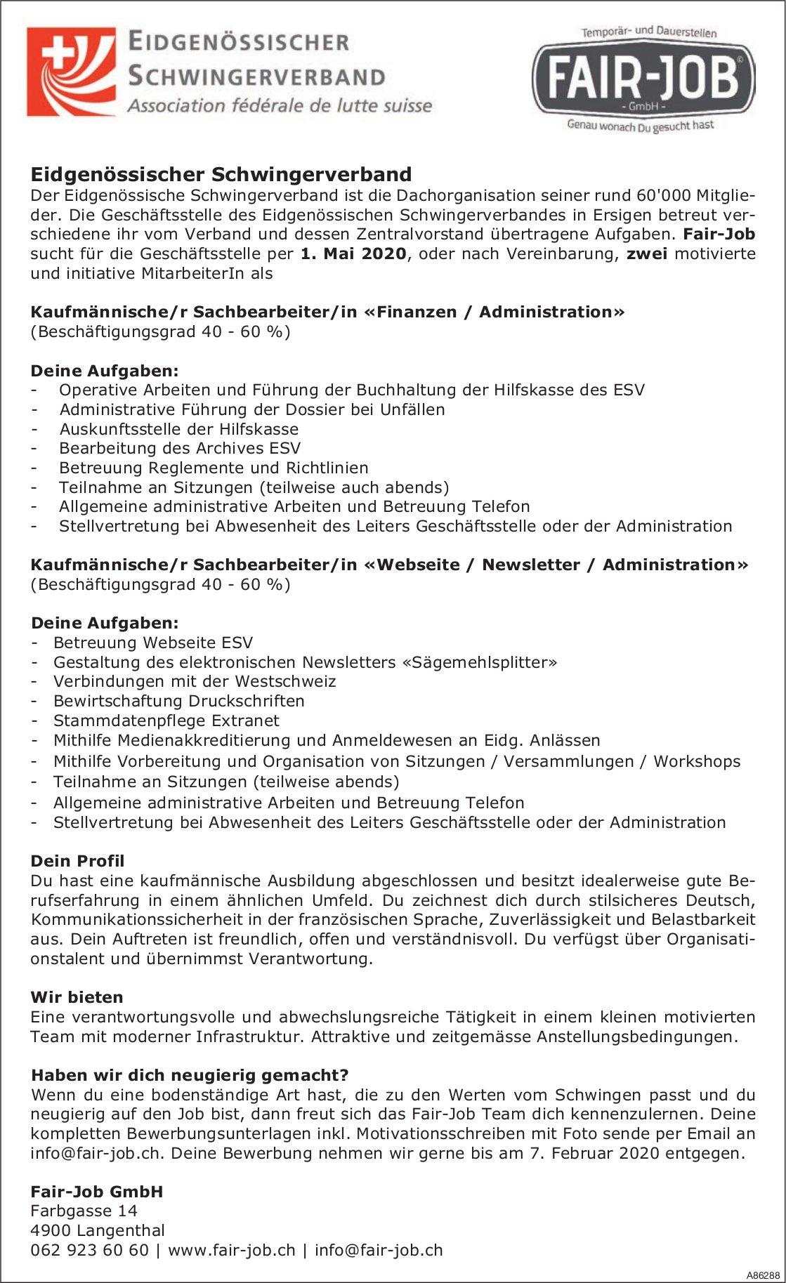 Kaufmännische/r Sachbearbeiter/in bei Fair-Job GmbH gesucht