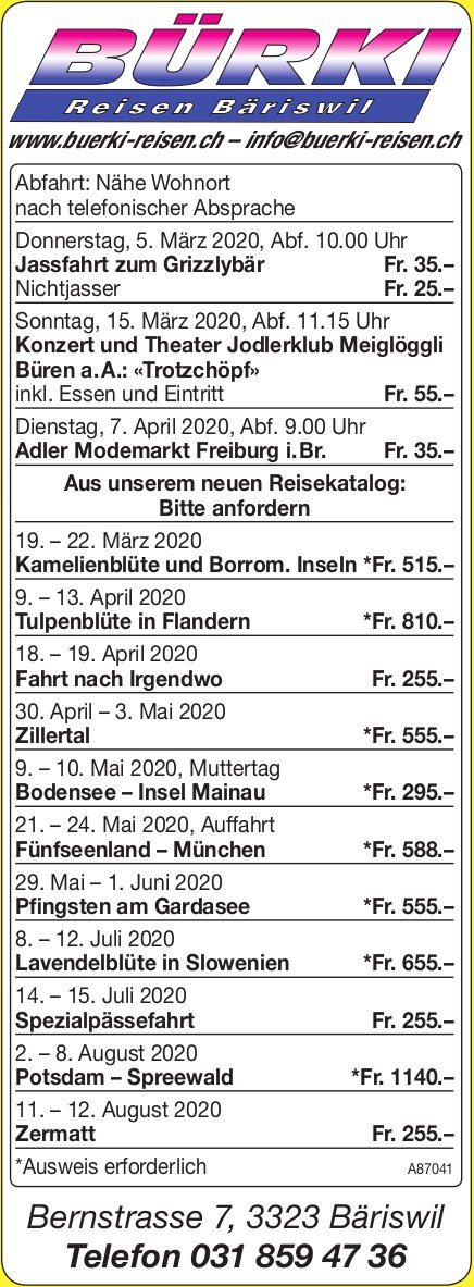 Programm & Events, Bürki Reisen,  Bäriswil
