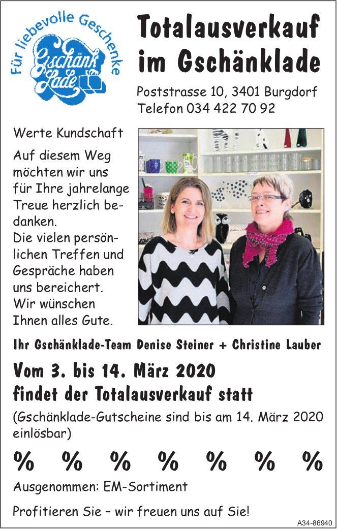 Totalausverkauf im Gschänklade, 3. bis 14. März, Burgdorf