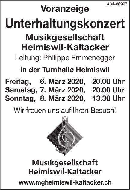 Unterhaltungskonzert, 6./7./8. März, Musikgesellschaft Heimiswil-Kaltacker, Heimiswil
