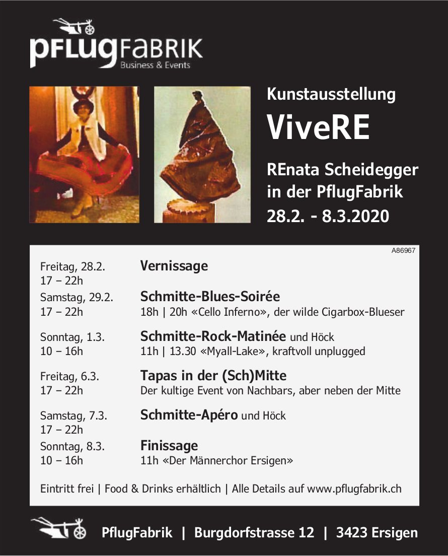 Kunstausstellung ViveRE, 28. Februar bis 8. März, PflugFabrik, Ersigen
