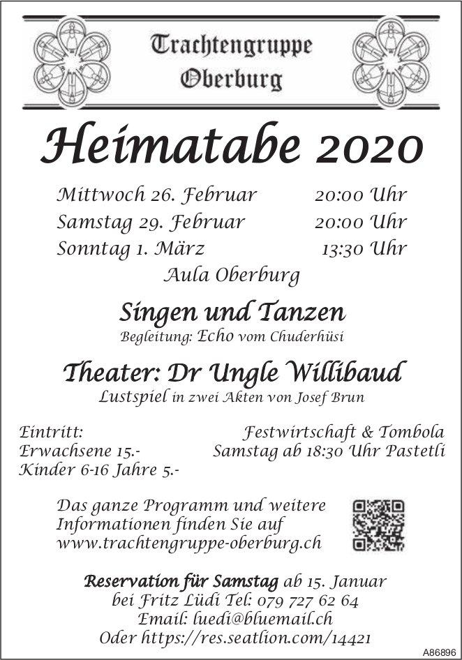 Heimatabe 2020, 26./29. Februar + 1. März, Trachtengruppe Oberburg