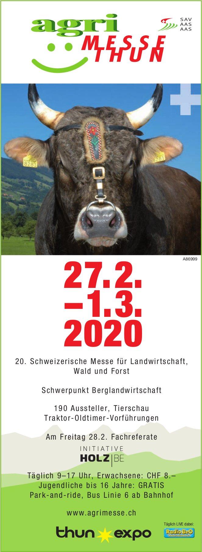 Agri Messe Thun, 27. Februar bis 1. März