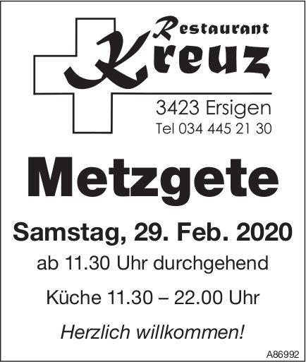 Metzgete am 29. Februar, Restaurant Kreuz